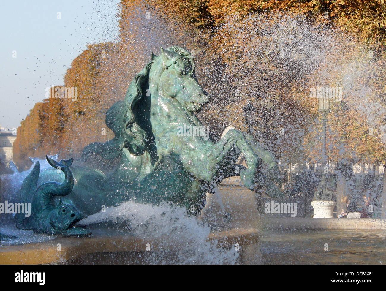 horse of the 'Fontaine des quatre parties du Monde' in Paris, Place Camille Jullian, 6th arrondissement - Stock Image