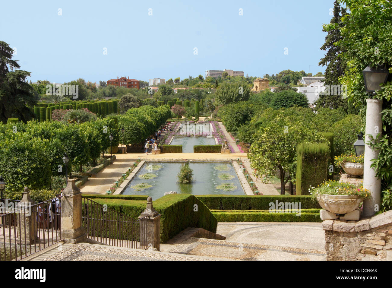garden of the Alcazar de los Reyes Cristianos in Cordoba, Spain - Stock Image