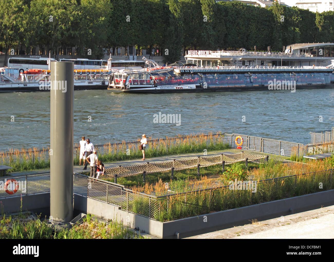 Les Berges,the new Seine river,the Archipelago floating garden,quai d'Orsay,Paris,left bank,France Stock Photo