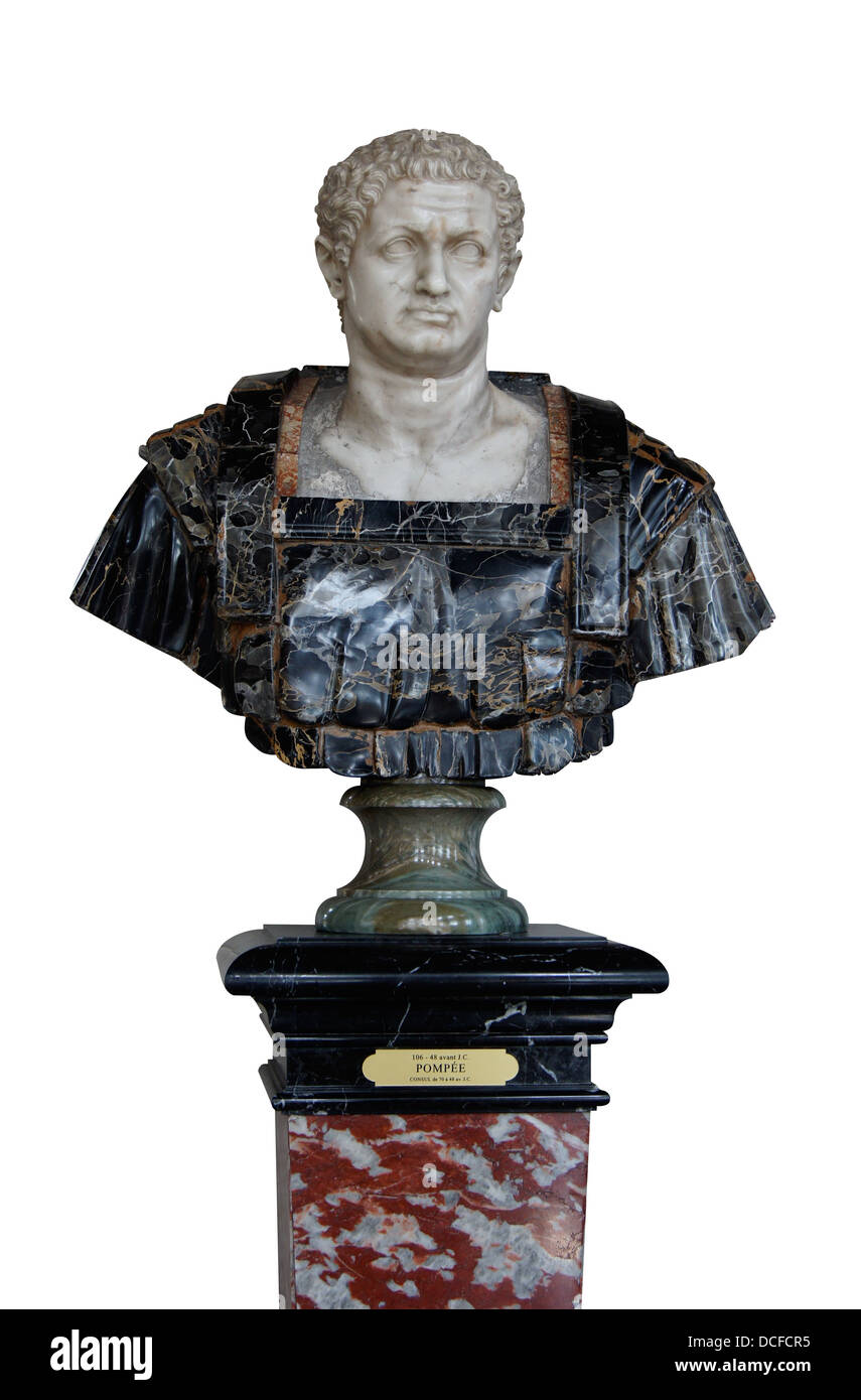 Gnaeus Pompeus Magnus, Marble bust, XVIIth century, Florence, Italy. On display in Chateau de Vaux-le-Vicomte, France - Stock Image