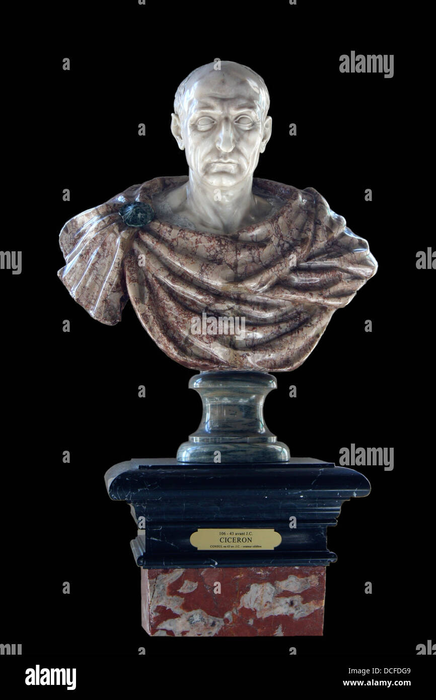 Marcus Tullius Cicero, Roman Consul, 106-43 BC, Marble bust from Florence (Italy), XVIIe century, Château de - Stock Image