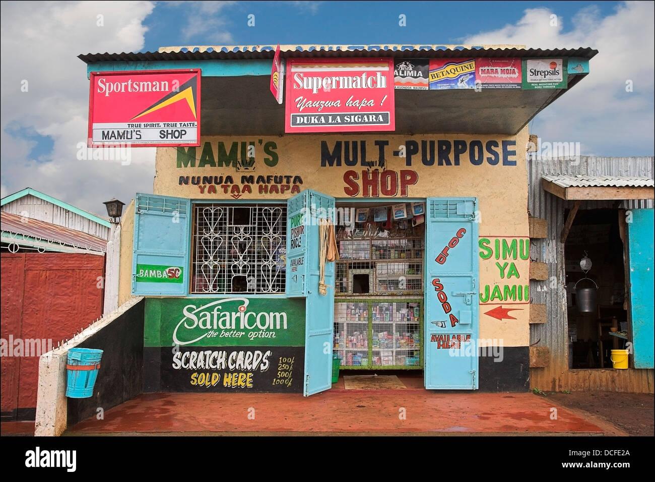 Shopfront Of A General Store; Kenya,Africa - Stock Image