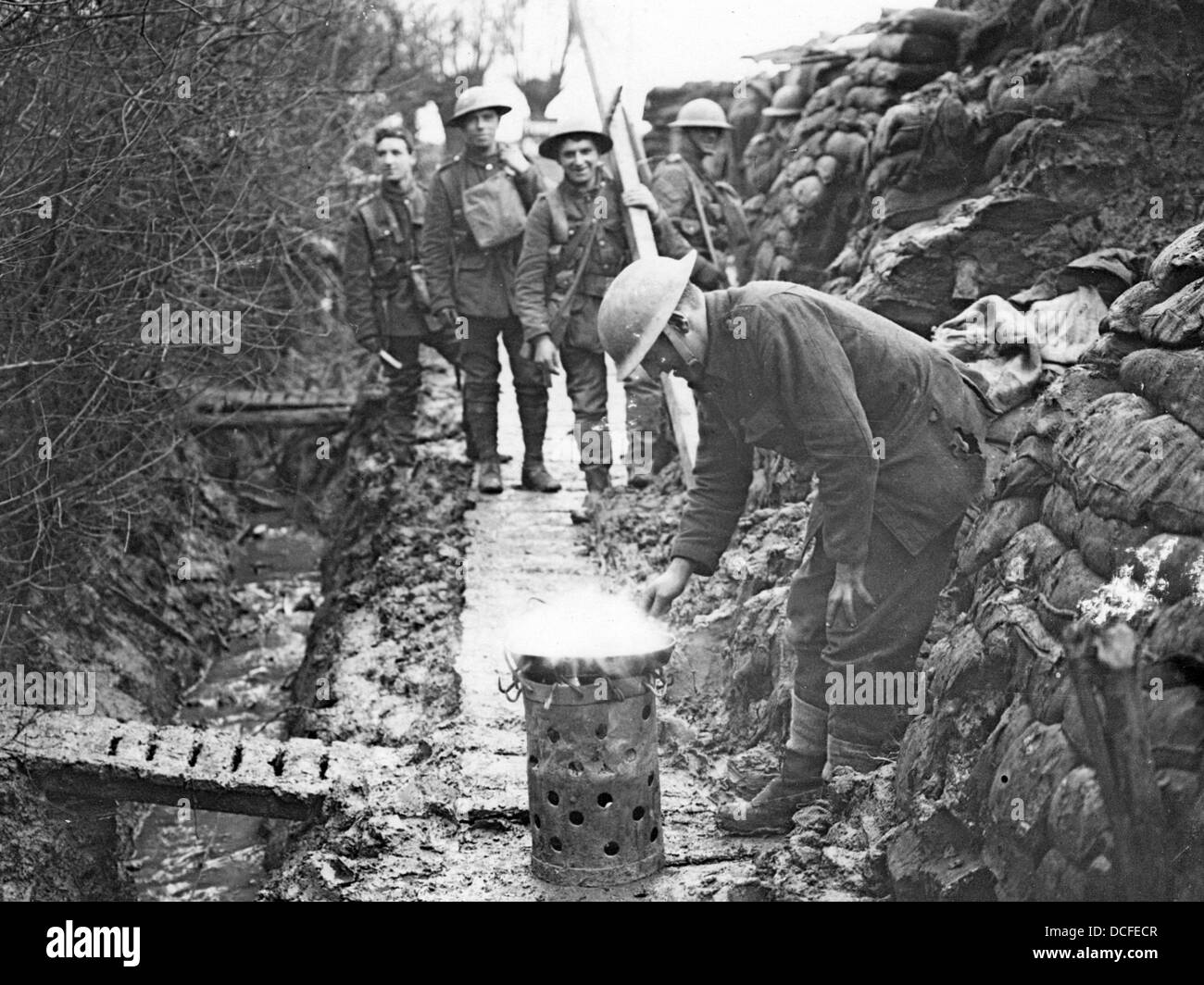 Great War. WW1 Cooking in the trenches. - Stock Image