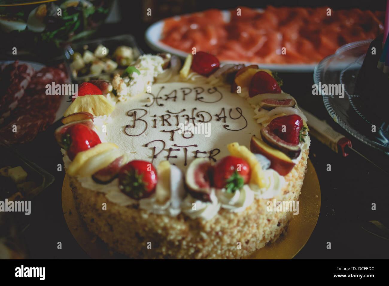 White Chocolate Birthday Cake To Peter Stock Photo 59347608 Alamy