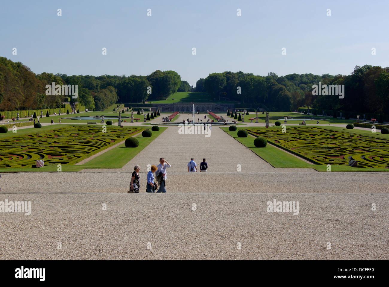The 'Jardins à la Française' by Le Nôtre in Château de Vaux le Vicomte, France - Stock Image