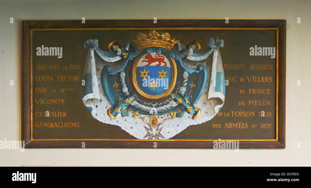 The coat of Arms of Marshall duc de Villars, Château de Vaux le Vicomte, France - Stock Image