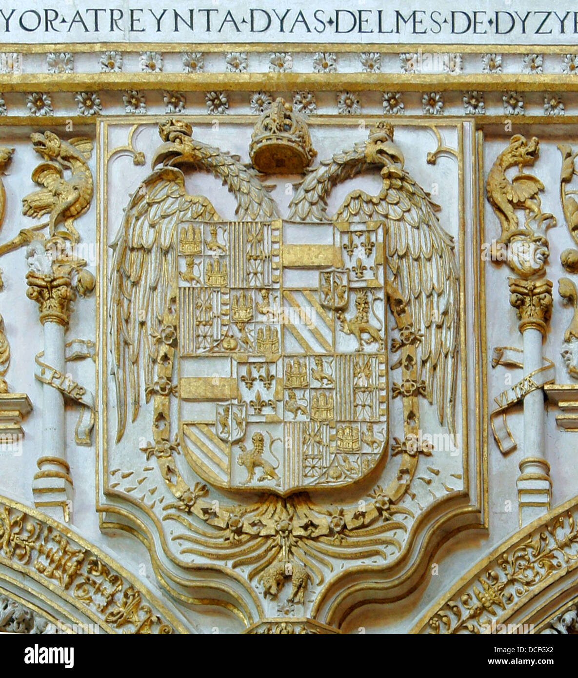 coat of Arms of King Charles 1st, King of Spain, Emperor Charles V of the Holy Roman German Empire, golden stucco, - Stock Image