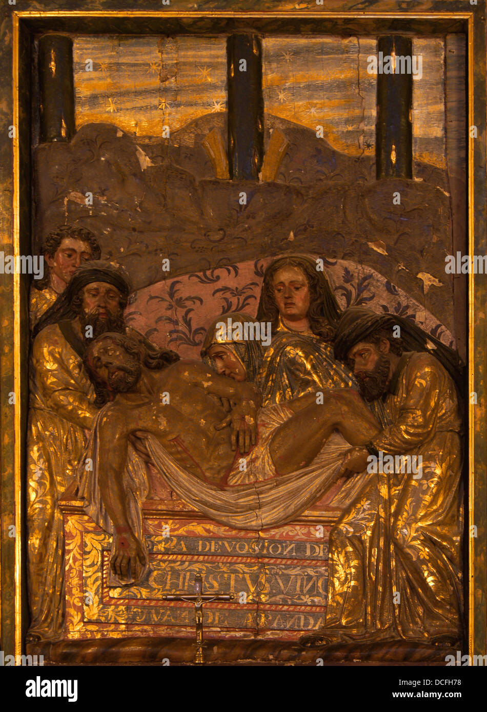 relief of the entombment of Christ, end of XVIth century, chapel n°40 (Santo Sepulcro o santos varones), Cathedral - Stock Image
