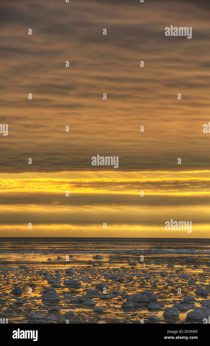 Sunrise Over The Ice-Filled Hudson's Bay;Manitoba Canada - Stock Image
