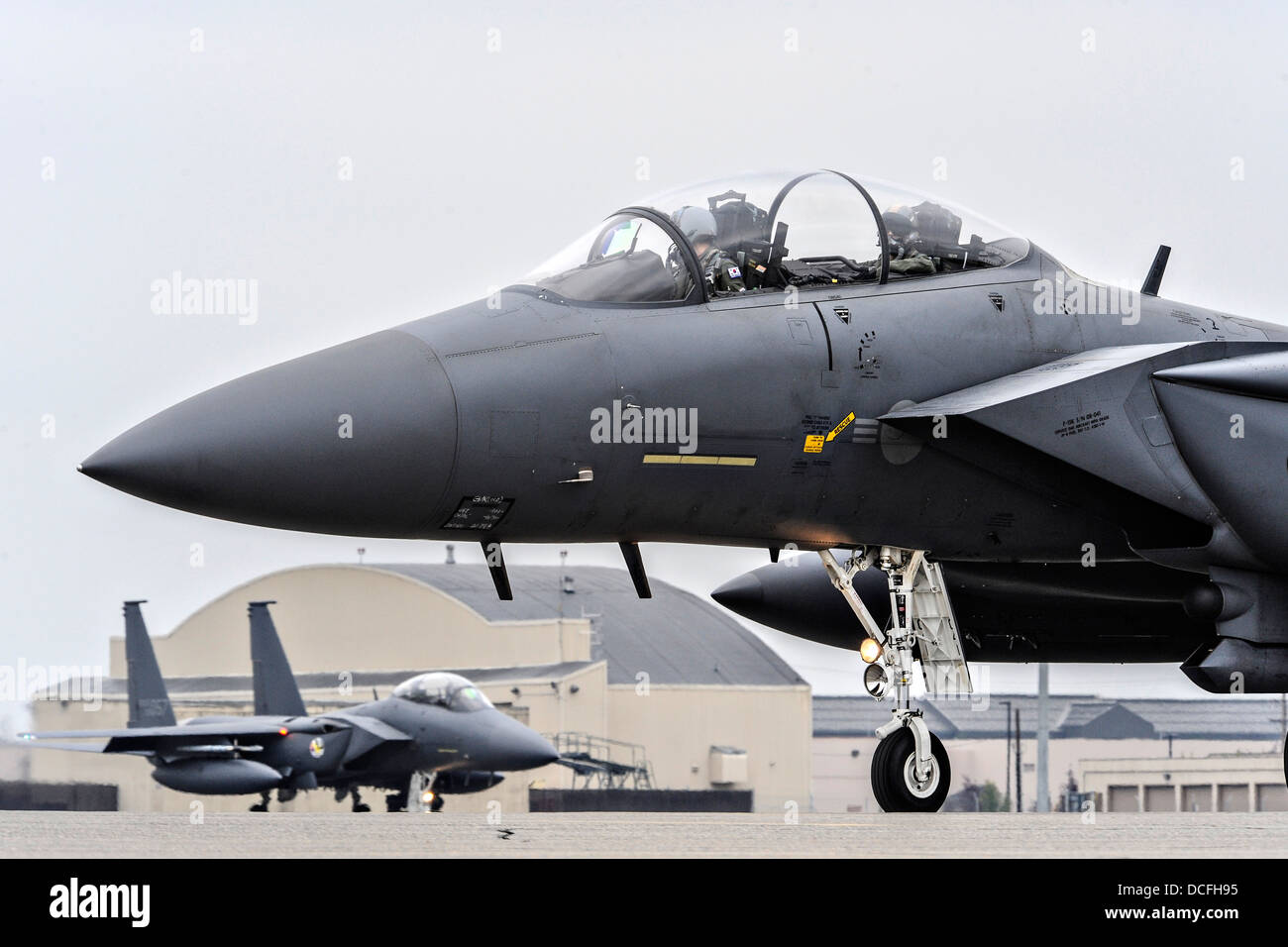 A Republic of Korea Air Force F-15K fighter aircraft taxi down the runway during RED FLAG Alaska August 12, 2013 - Stock Image