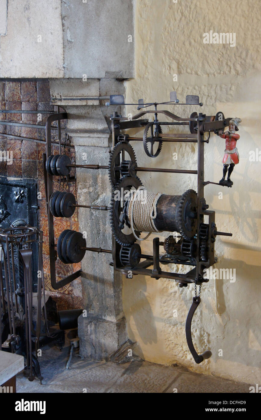 automatic rotisserie counterweight in the historic kitchen of the Hotel-Dieu in Beaune, France - Stock Image