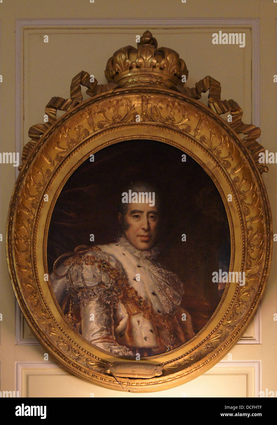 Portrait of king Charles X of France, oil on canvas, Château de Breteuil, France - Stock Image