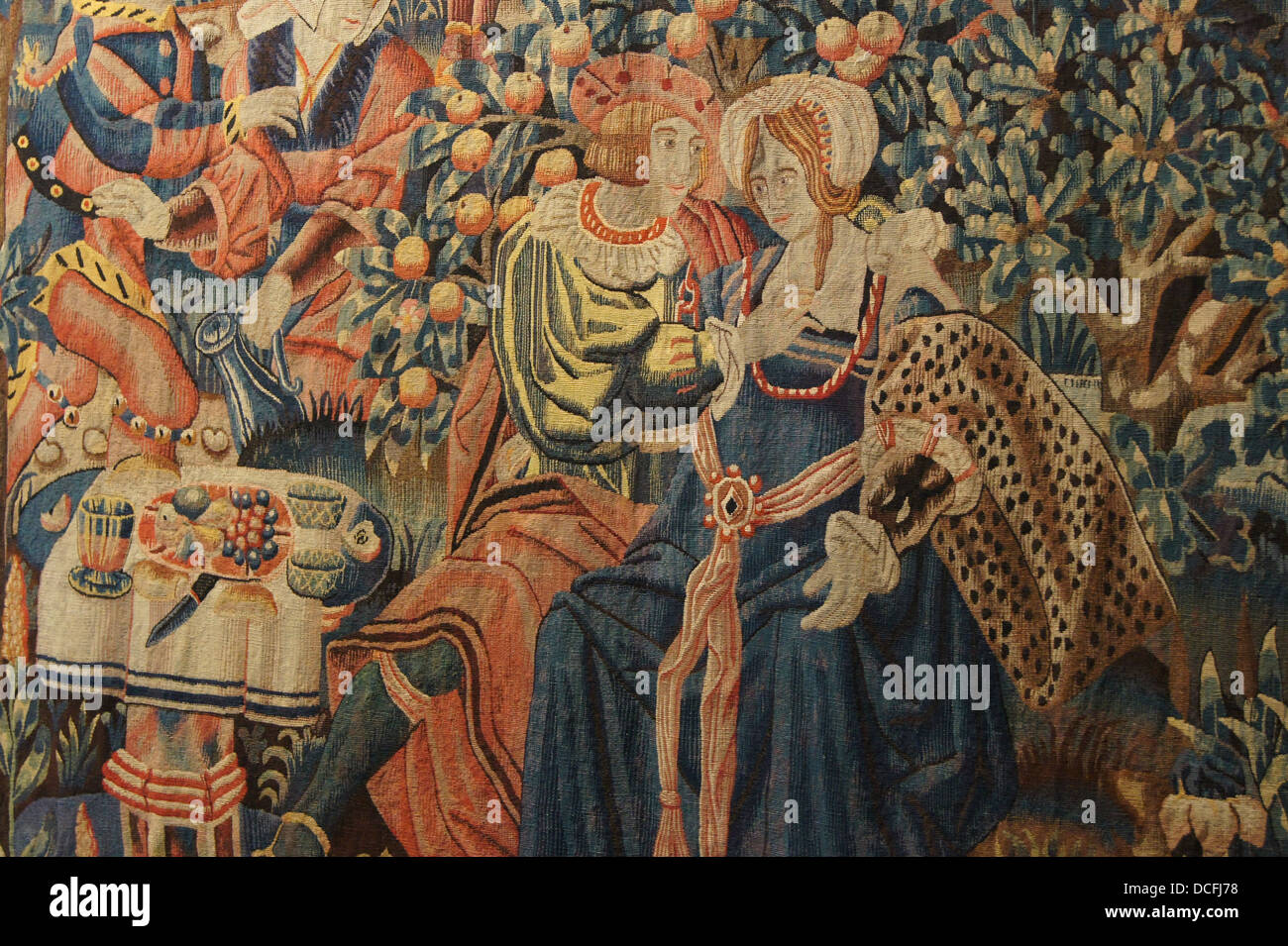 Close up of the hanging tapestry of the parable of the prodigal son, probably from Tournai, beginning XVIth century, - Stock Image