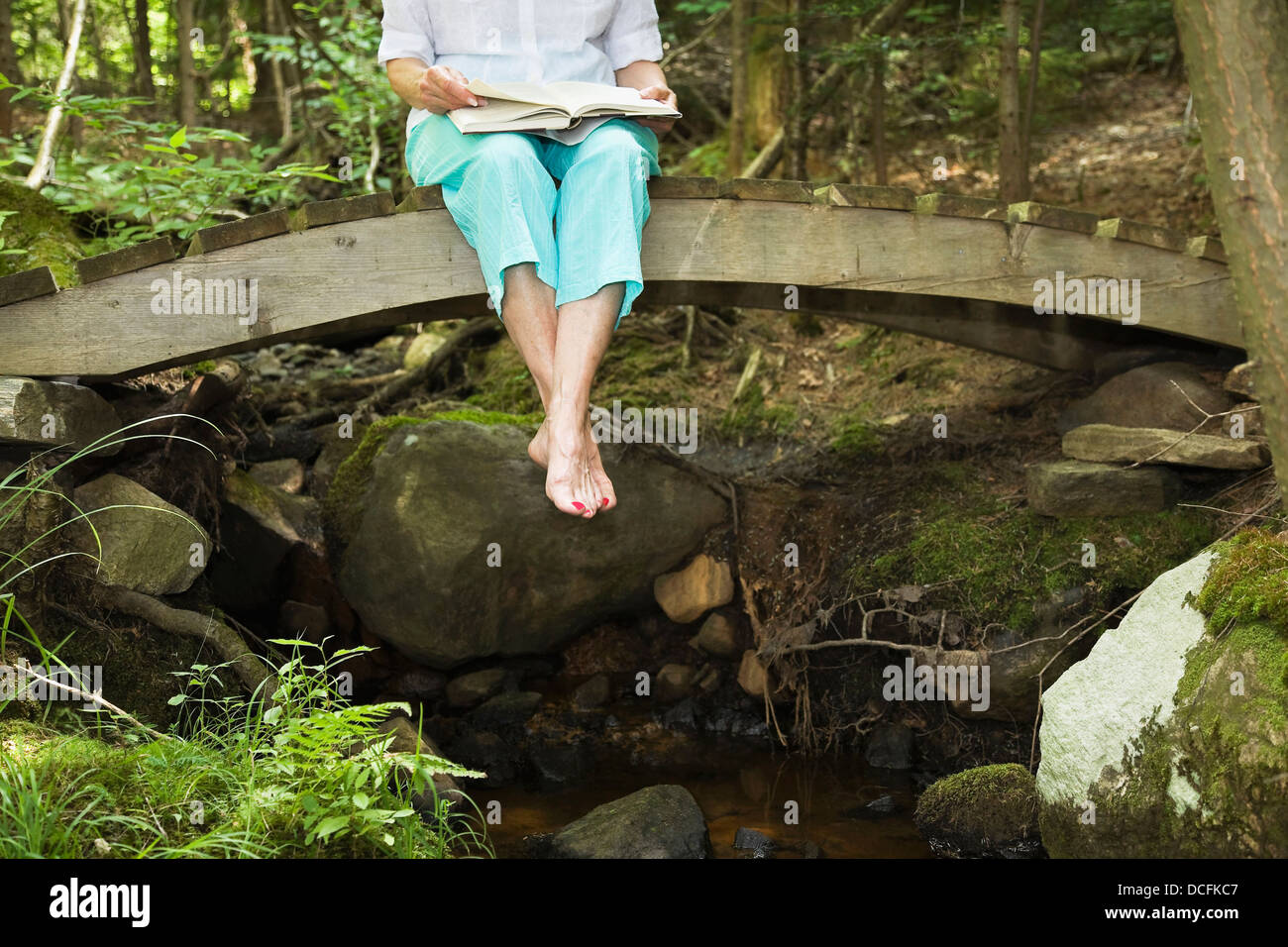 Woman Reading While Sitting On A Woodland Bridge, Algonquin Park, Ontario, Canada - Stock Image