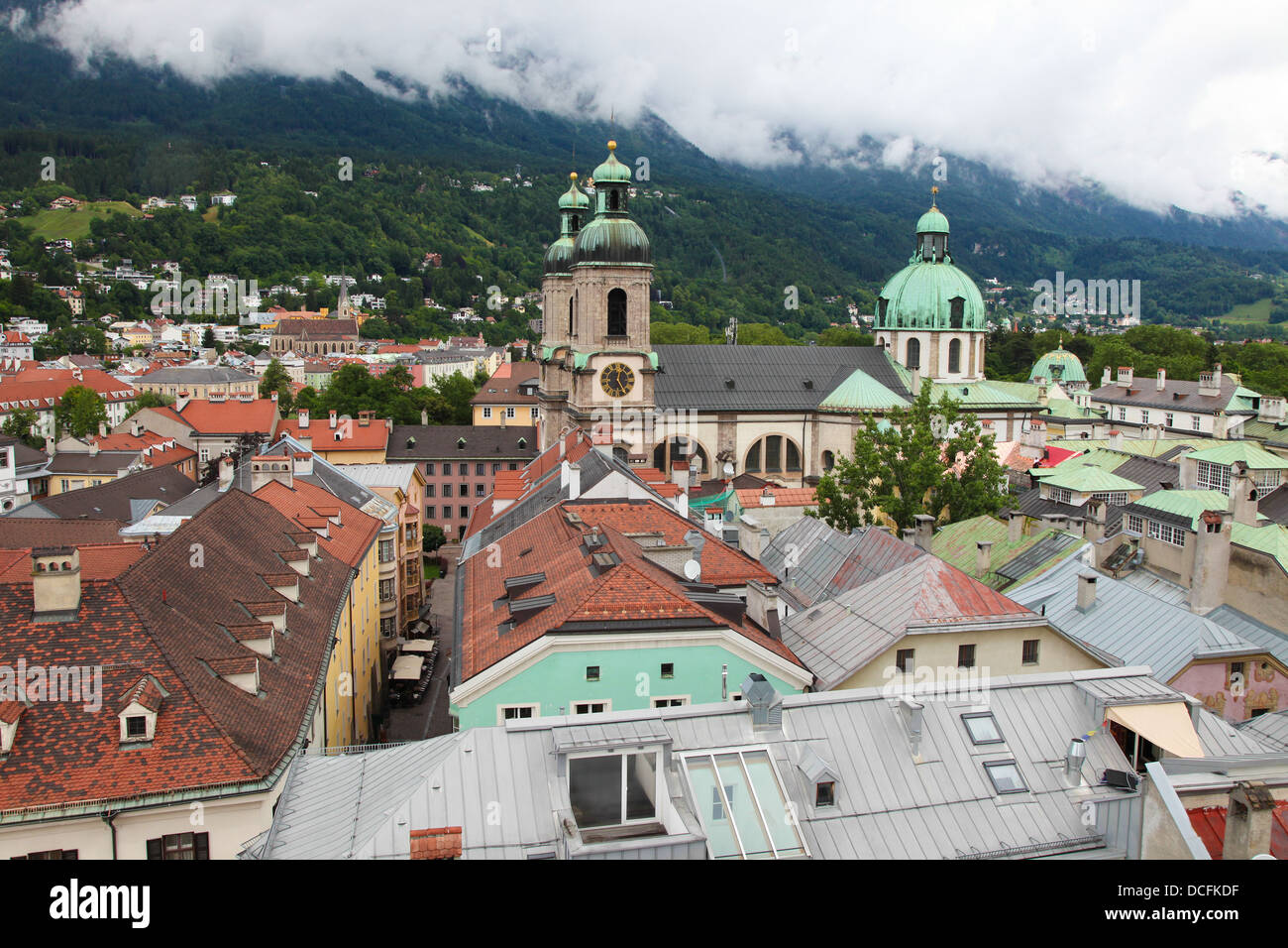 Panoramic view on the Dom in the old center of Innsbruck, Austria. - Stock Image