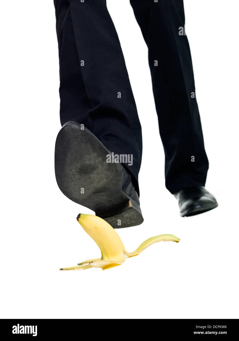 Banana peel slip - Stock Image