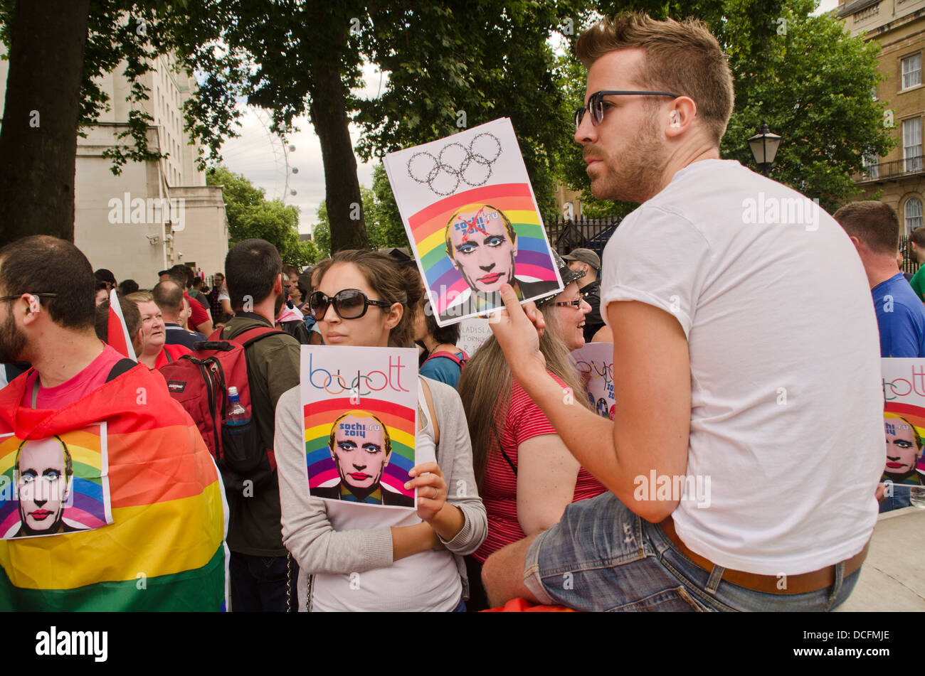 GAY RIGHTS ACTIVISTS IN PROTEST OF OPRESSION OF THE GAY PEOPLE IN RUSSIA - Stock Image
