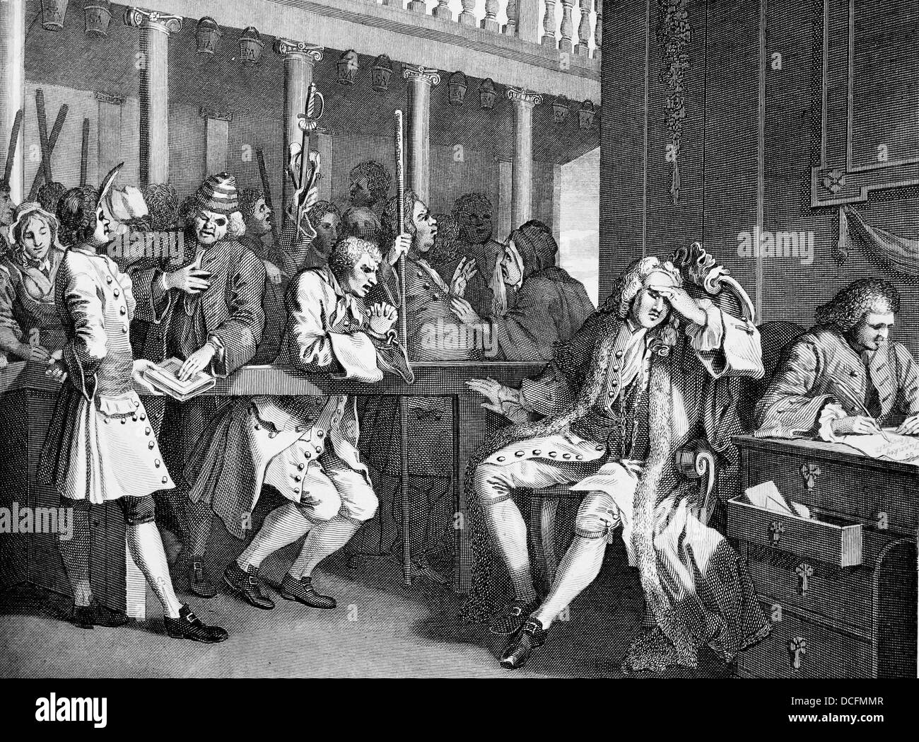 Industry And Idleness, The Industrious Prentice, Plate 10.From the original works by William Hogarth. Stock Photo