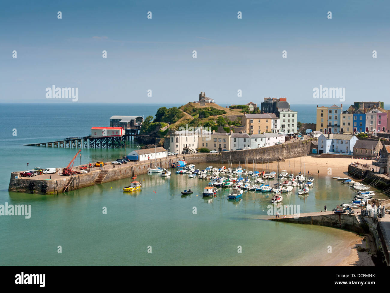 The harbour at Tenby, Pembrokeshire;Wales - Stock Image