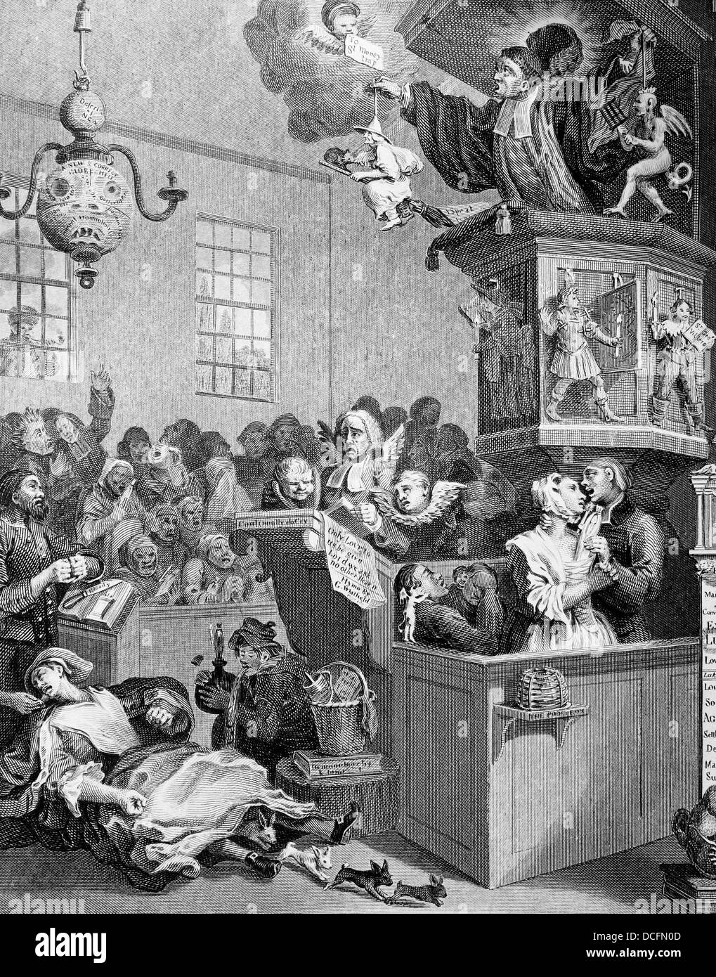 Credulity,Superstition, and Fanaticism. Engraving from the original by William Hogarth. - Stock Image