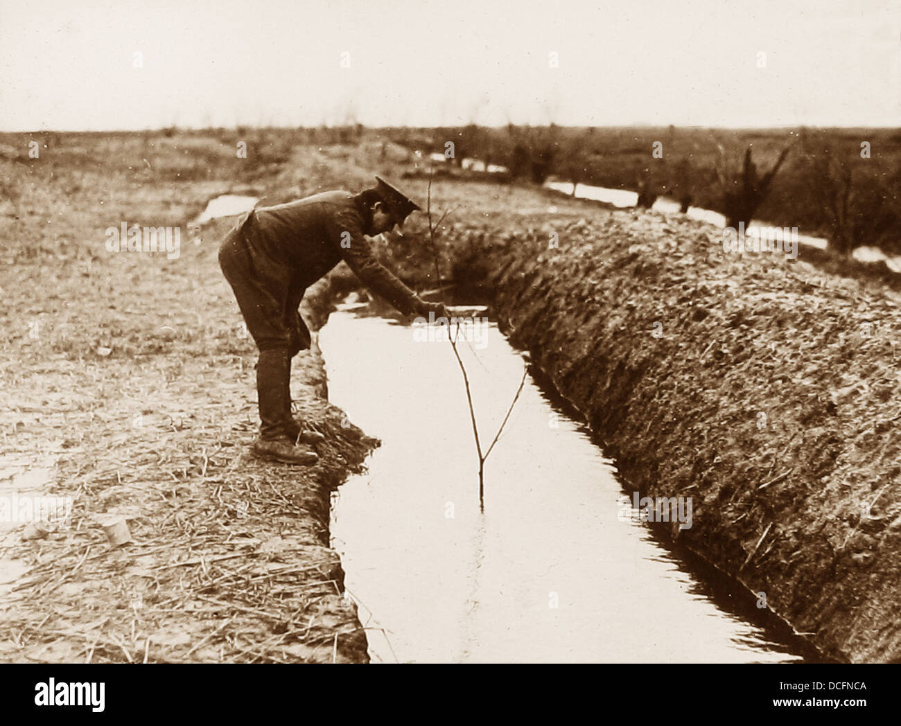 Flanders flooded British trenches during WW1 - Stock Image