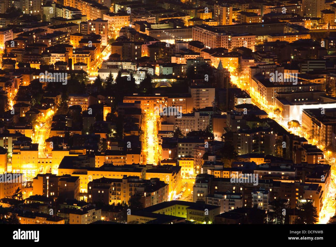 Bolzano streets at night - Stock Image