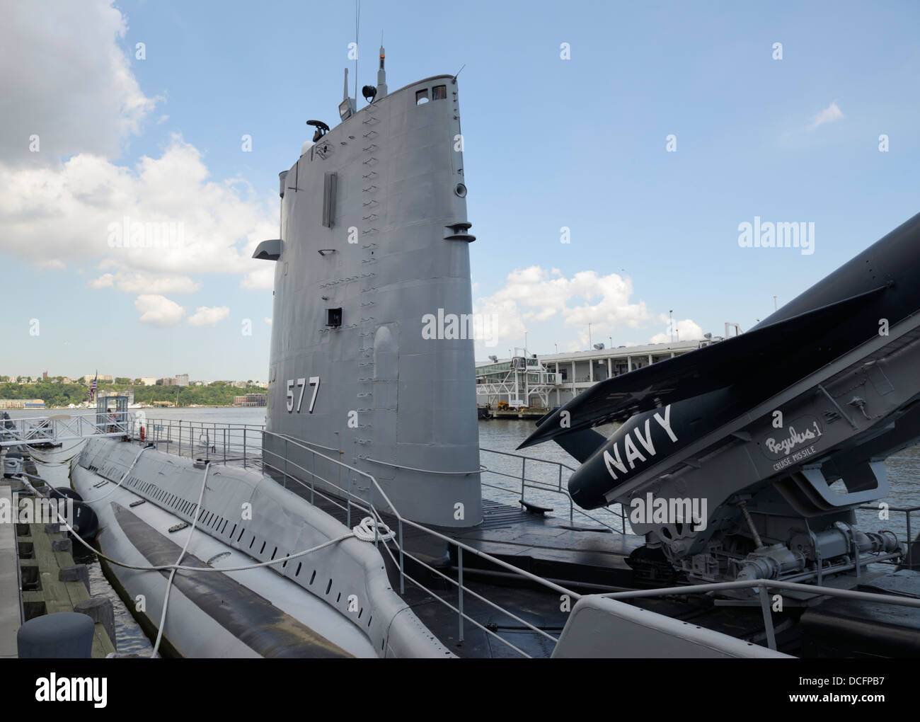 USS Growler (SSG-577), a cruise missile submarine, Intrepid Sea, Air and Space Museum - Stock Image