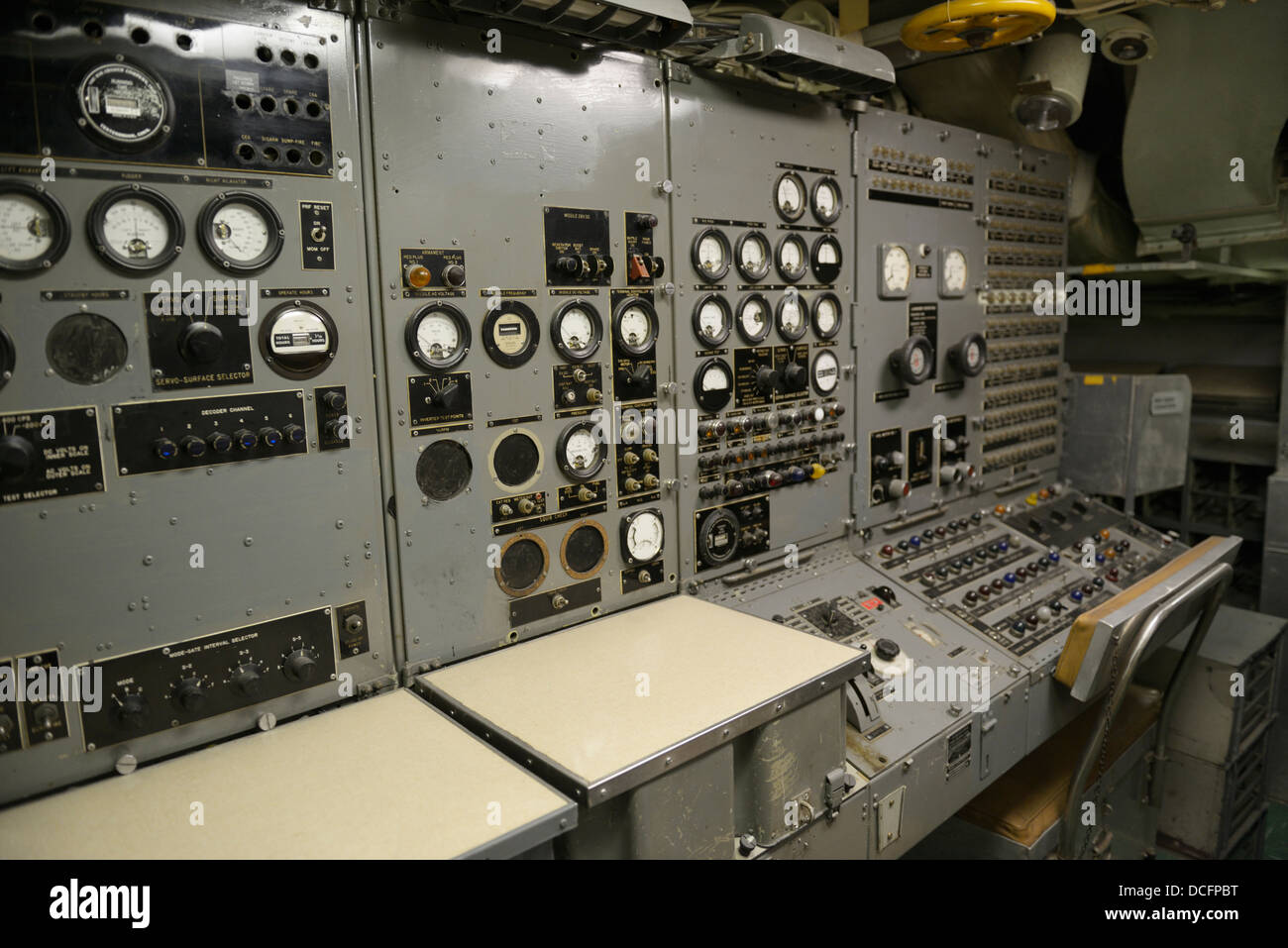 Control panel in a submarine, the USS Growler (SSG-577), Intrepid Sea, Air and Space Museum - Stock Image