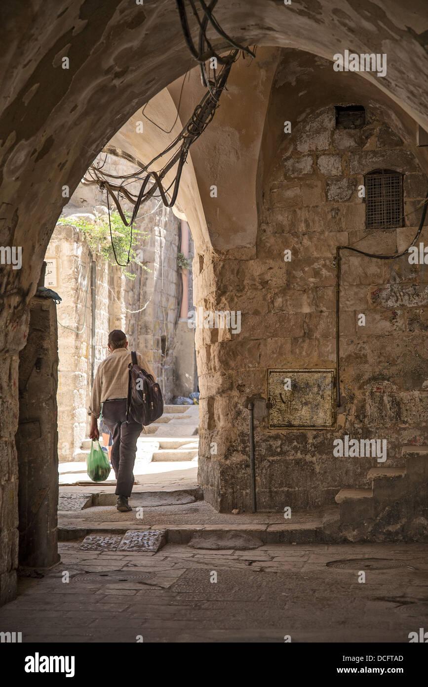 old town street in jerusalem in israel Stock Photo