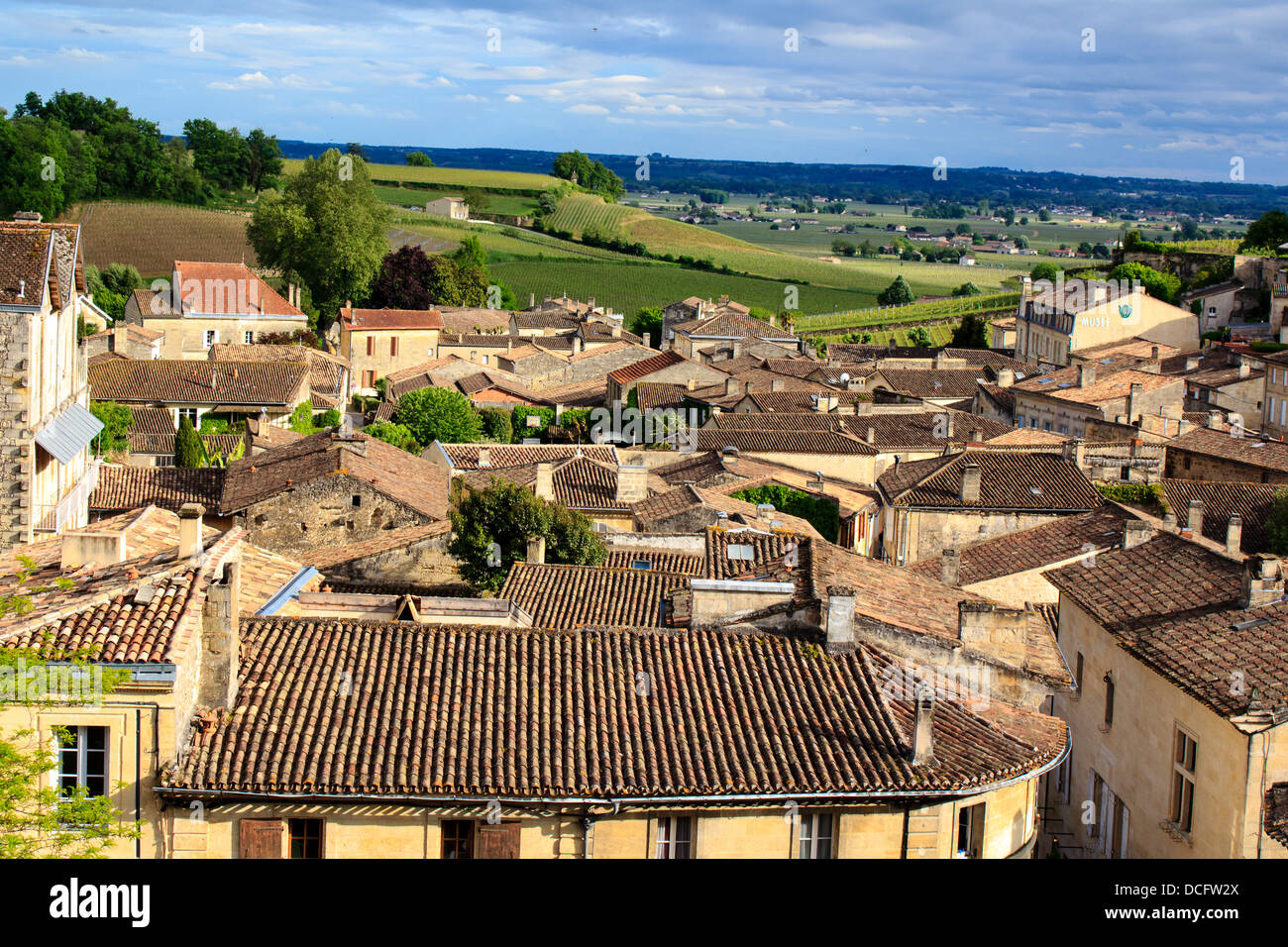 St-Emilion roofs. It is one of the main red wine production areas of Bordeaux region. The town is a UNESCO World Stock Photo