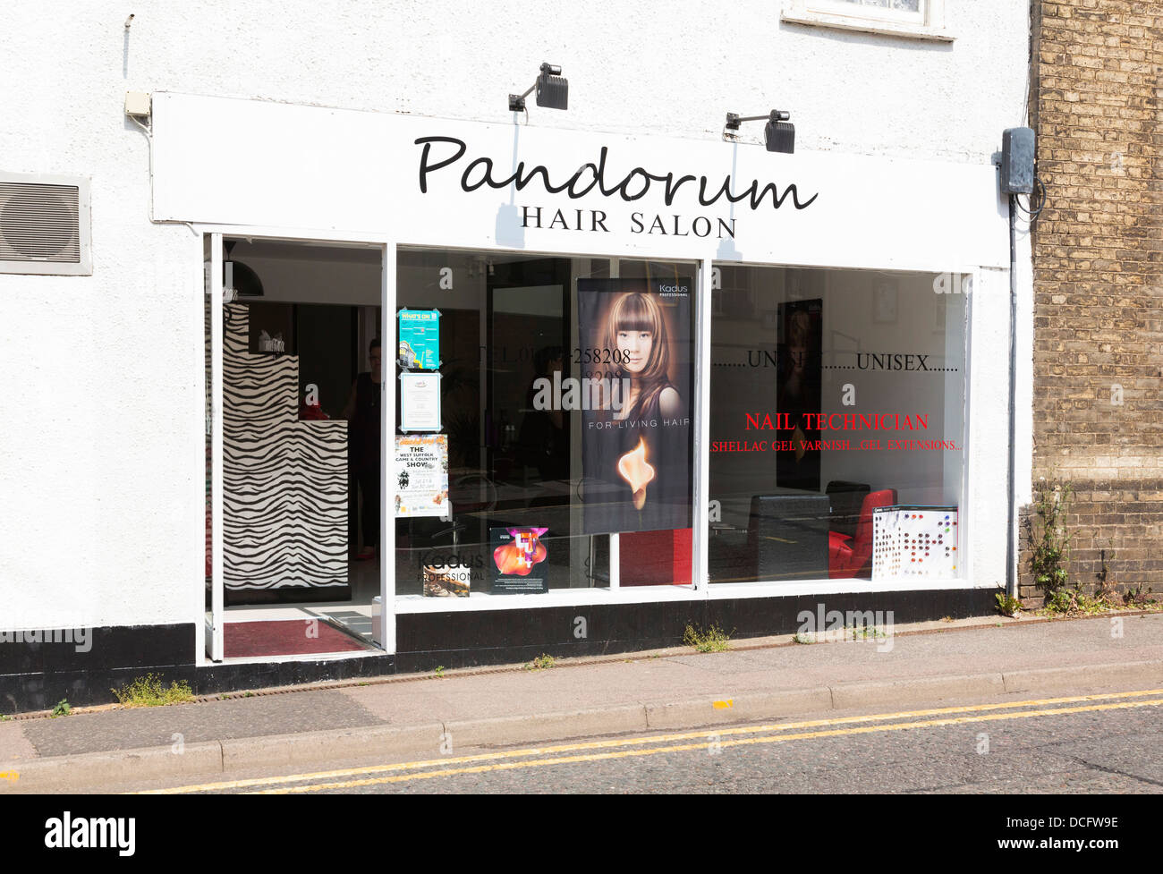 exterior of Pandorum hairdressing salon - Stock Image