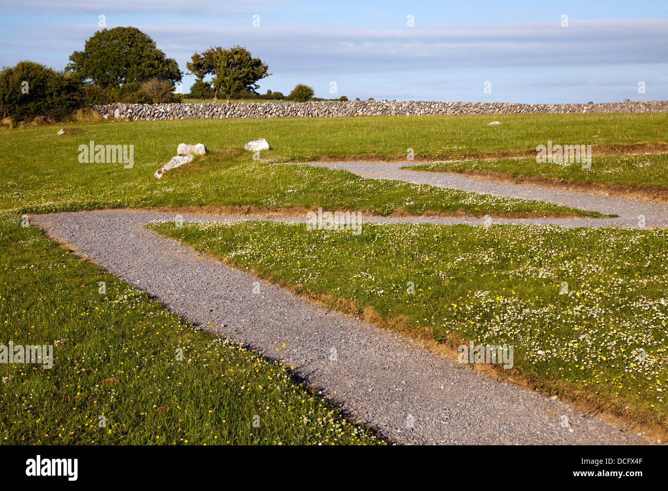 Pathway In Irish Landscape; Ballyvaughan, County Clare, Ireland - Stock Image