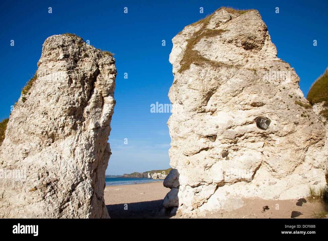 Landmark Rock Formations On Beach; White Rocks Beach, Portrush, Country Antrim, Northern Ireland Stock Photo