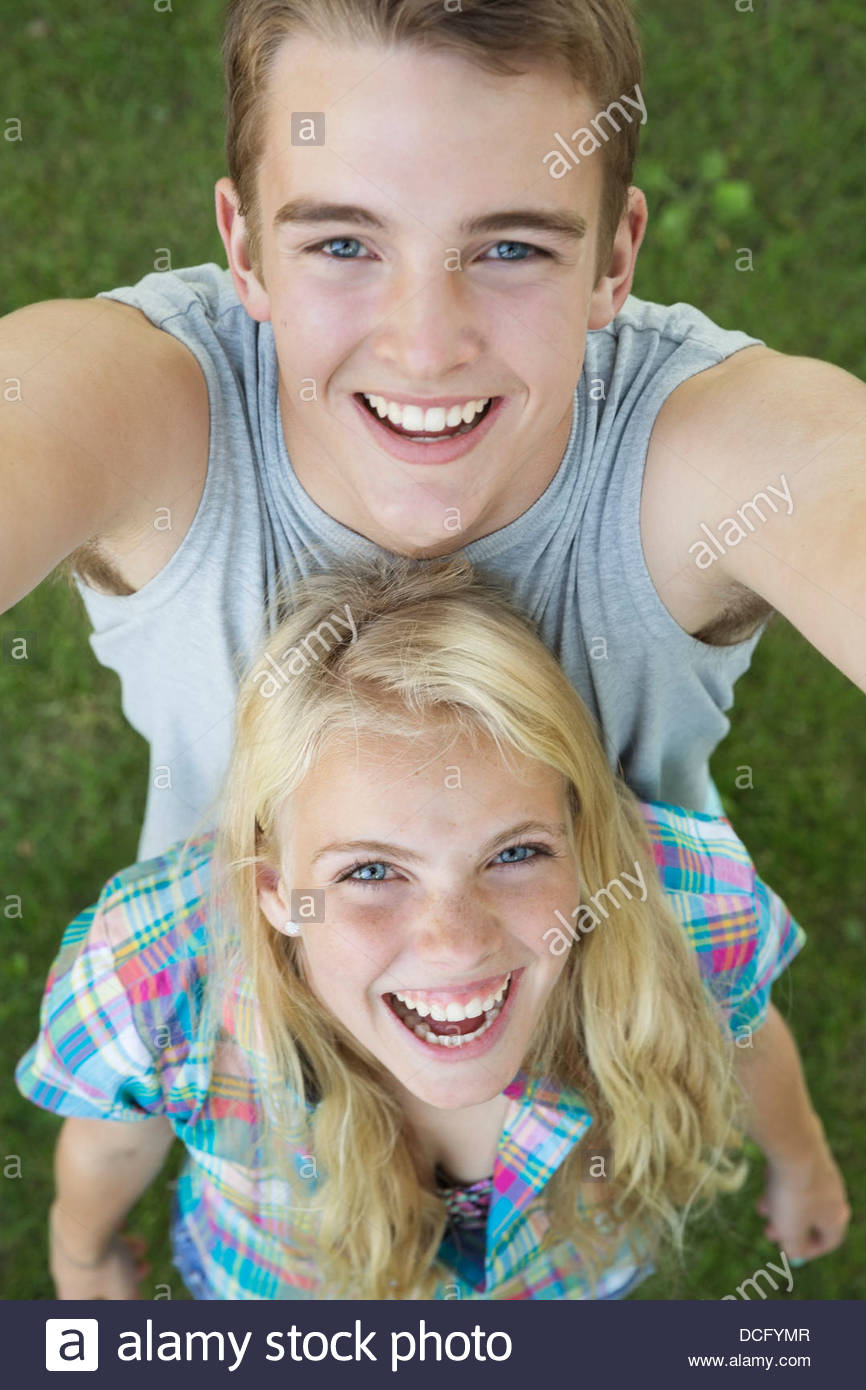 High angle view of teens outdoors - Stock Image