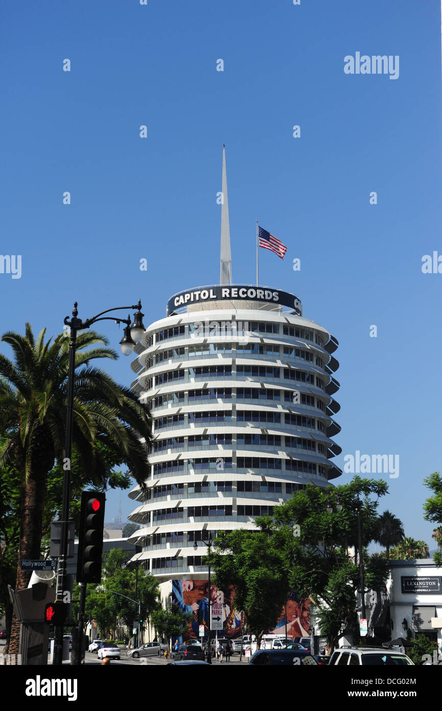 USA California CA Los Angeles L.A. Hollywood Capitol Records building recording industry giant music label - Stock Image