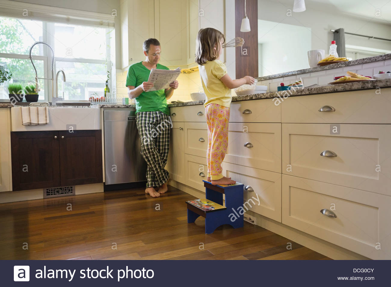 Family morning in the kitchen - Stock Image