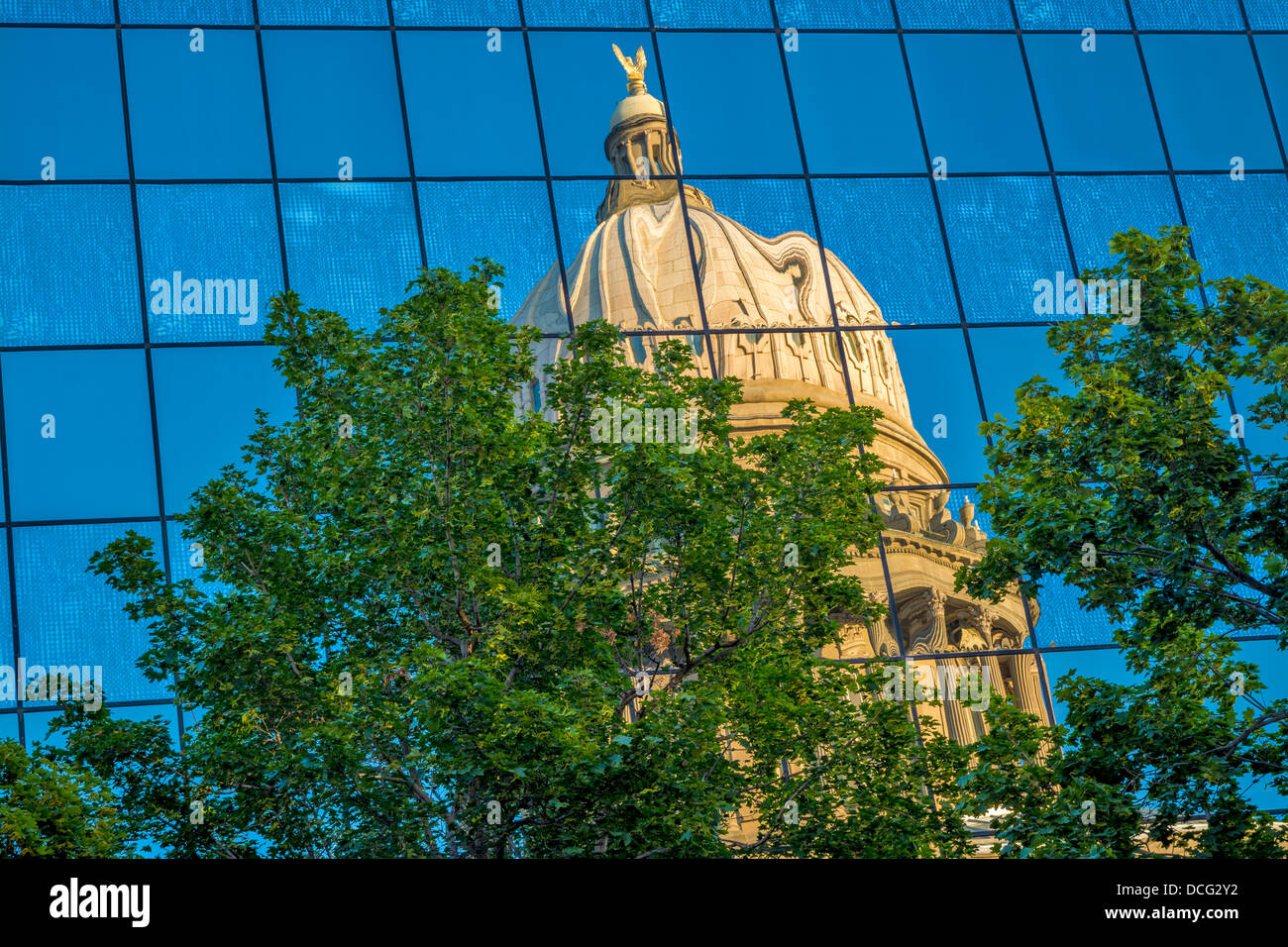 Reflection of the state capital shows a warped image - Stock Image