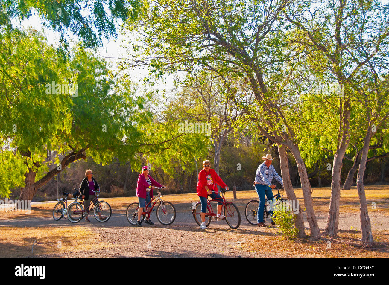 Bicycling on a trail at Bentsen-Rio Grande Valley State Park, Mission, Texas - Stock Image