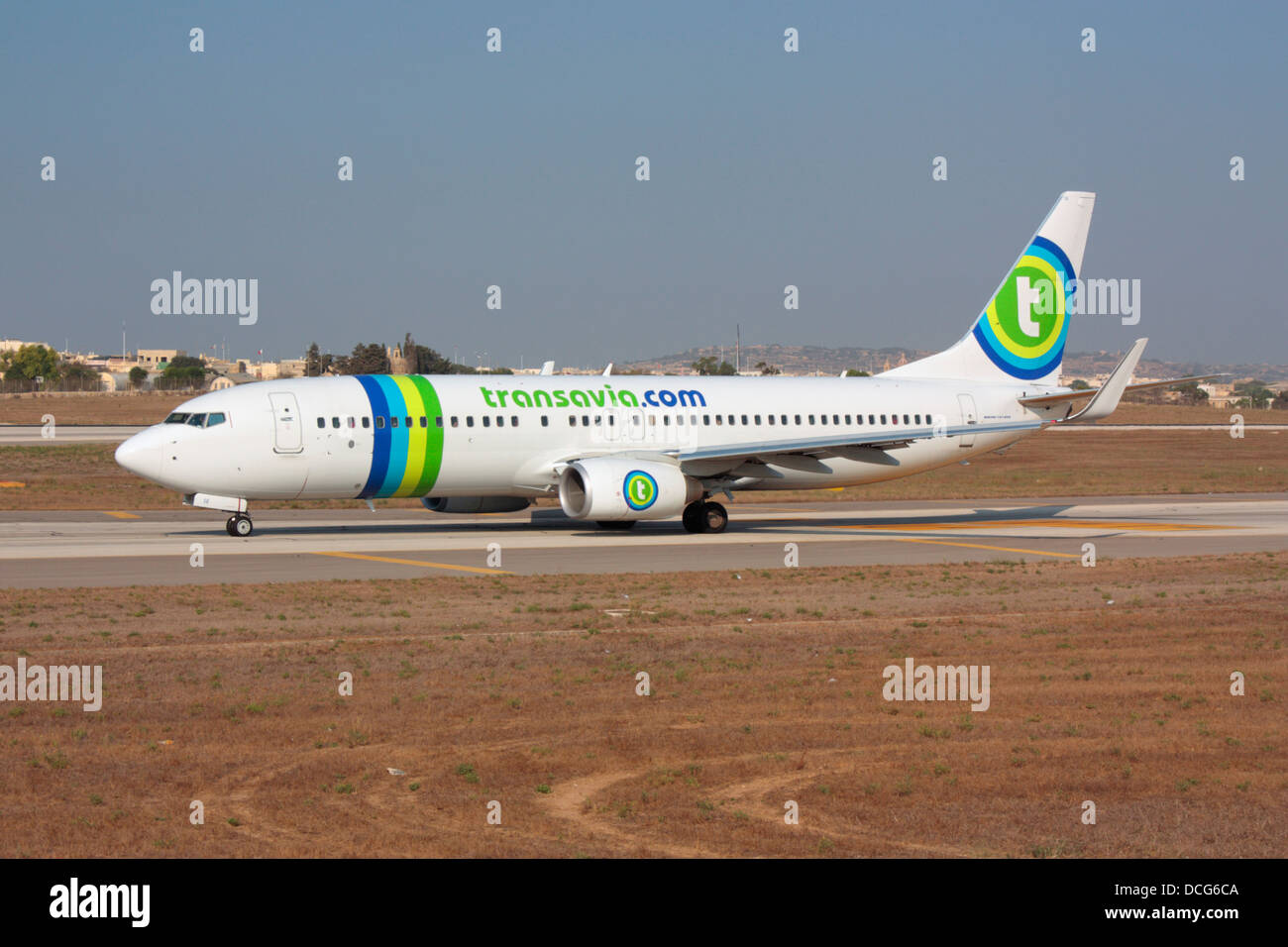 Air travel. Transavia Boeing 737-800 airliner taxiing for departure from Malta - Stock Image