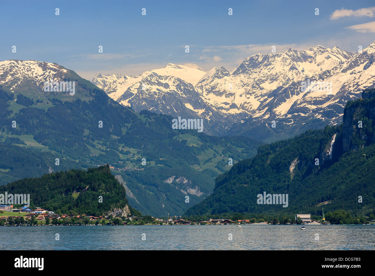 View on Brienz and the lake taken from Oberried, Switzerland - Stock Image