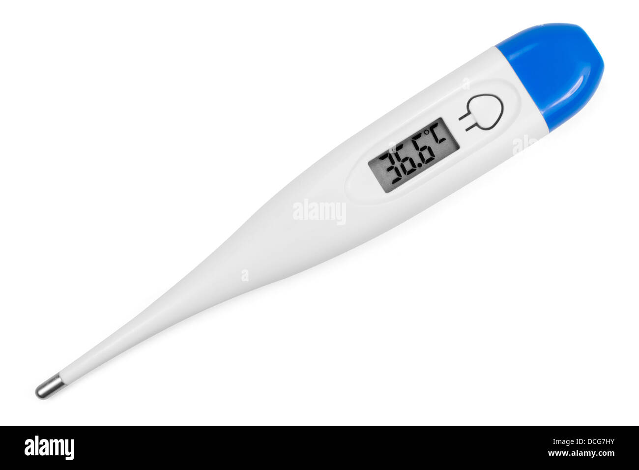 Electronic body thermometer displaying healthy human body temperature 36.6 grades C (Celsius). Isolated on white. - Stock Image