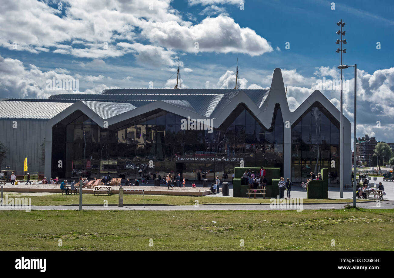 Entrance to Riverside Museum on the River Clyde in Glasgow featuring exhibits depicting Scotland's history of - Stock Image