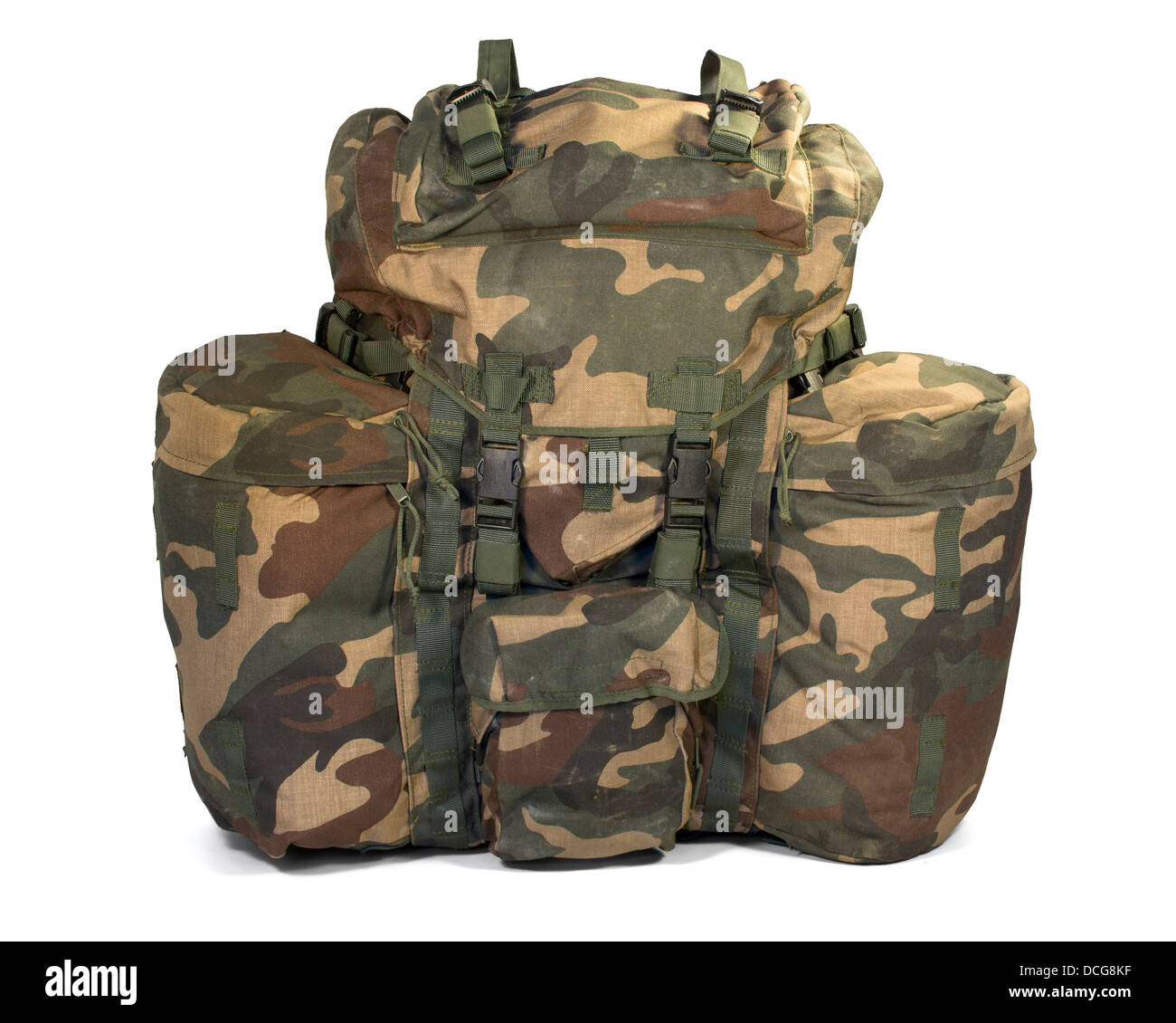Military backpack isolated on white. Clipping path (without shadow) - Stock Image