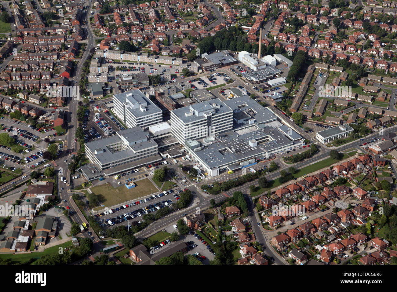 aerial view of Barnsley Hospital NHS Foundation Trust - Stock Image