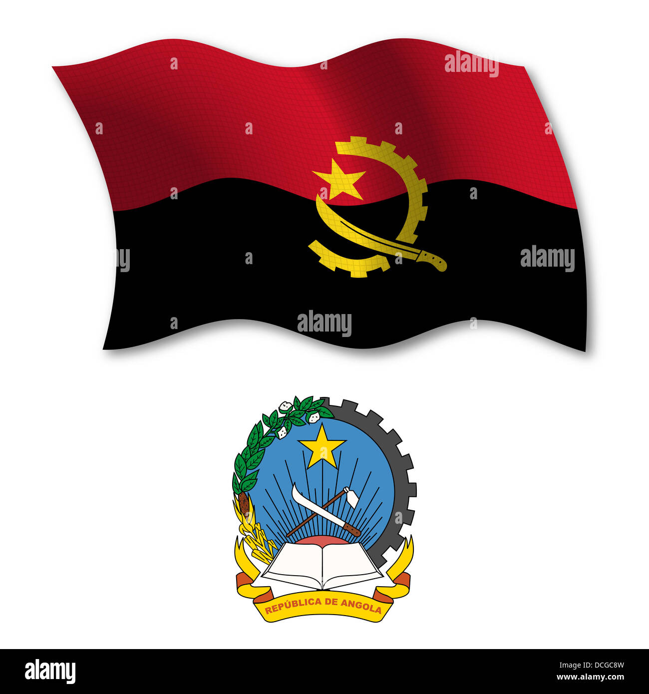 angola, shadowed textured wavy flag and coat of arms against white background, vector art illustration - Stock Image