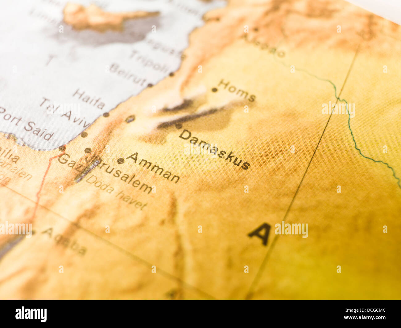 Map of Damaskus - Stock Image