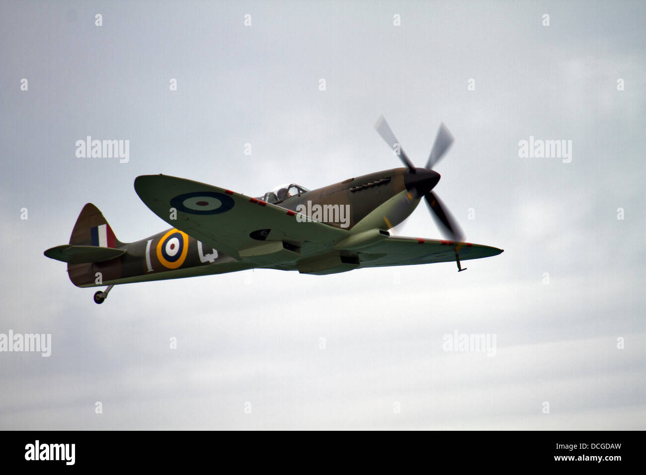 Eastbourne, East Sussex, UK. 16 August 2013. Spitfire Mk IX at Airbourne, the Eastbourne air show 2013. Credit: - Stock Image