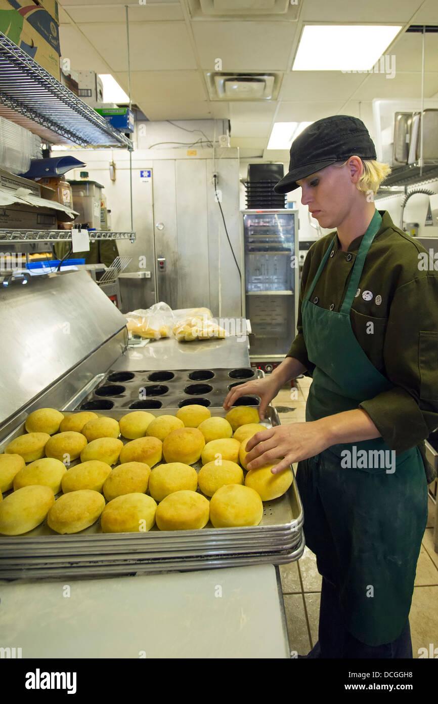 Fast Food Restaurant Worker - Stock Image