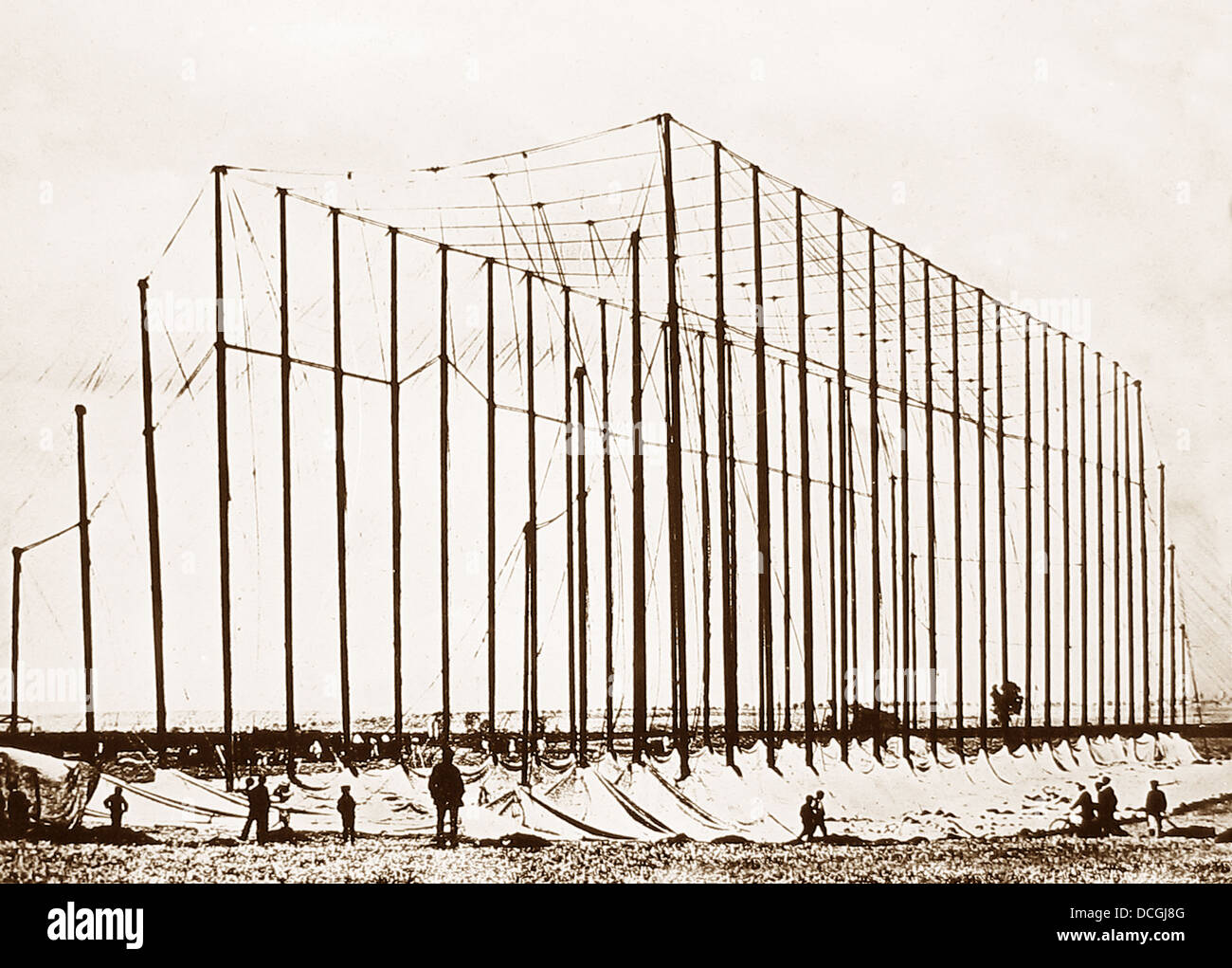 Temporary Hanger for Zeppelin Airship during WW1 - Stock Image