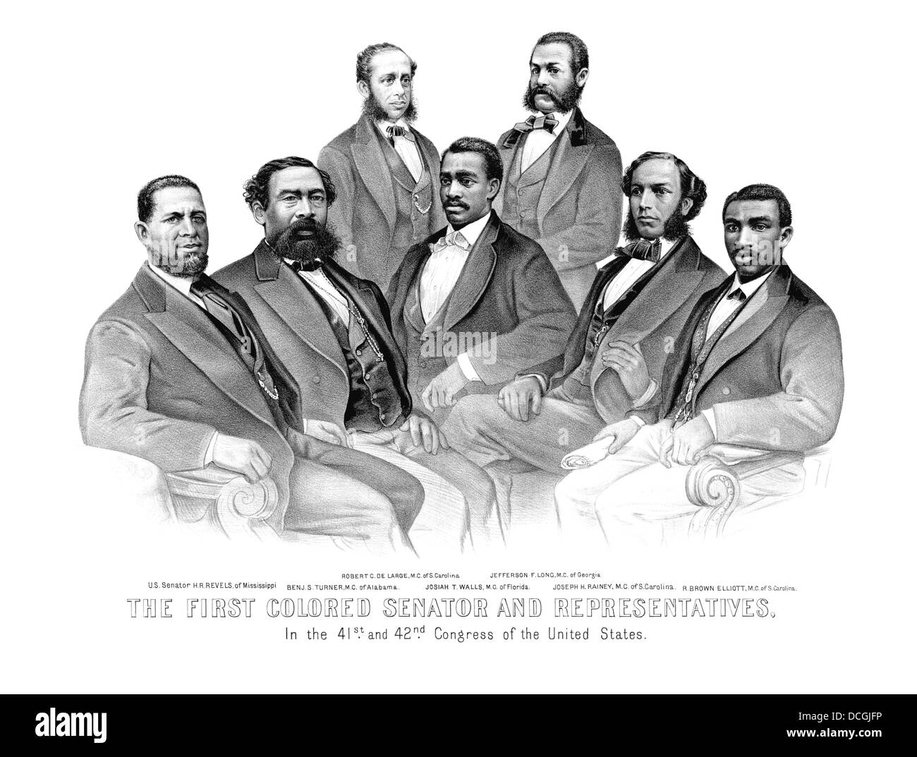 American History print of the first African American Senator and Representatives. - Stock Image
